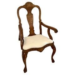 19th Century Antique Dutch Mahogany Marquetry Arm / Desk Chair