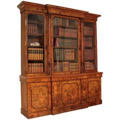 19th Century Antique English William IV Burr Walnut Breakfront Bookcase Cabinet