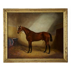 19th Century Antique Equestrian Horse Painting by James Albert Clark