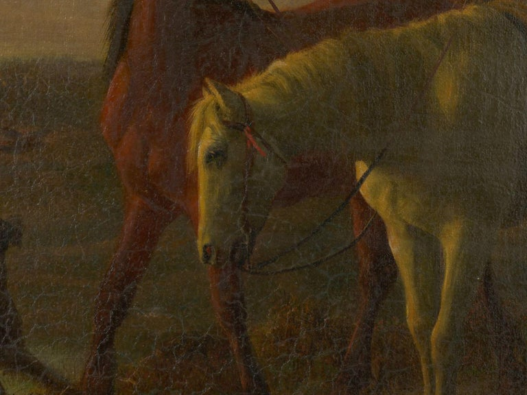 19th Century Antique Equestrian Oil Landscape Painting of Figure with Horses For Sale 5