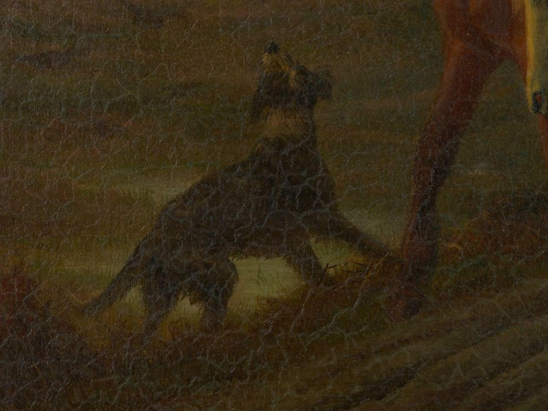 19th Century Antique Equestrian Oil Landscape Painting of Figure with Horses For Sale 6