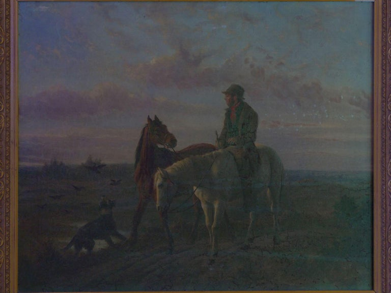 19th Century Antique Equestrian Oil Landscape Painting of Figure with Horses For Sale 10