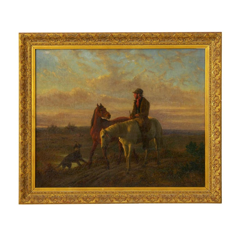 An exquisitely painted Equestrian scene of a rider leading another horse down a dirt path while his dog chases some birds out of the nearby brush. Captured at sunset, the golden hues of the end of the day cast light in a range of pastels across the