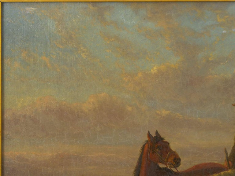 19th Century Antique Equestrian Oil Landscape Painting of Figure with Horses In Good Condition For Sale In Shippensburg, PA