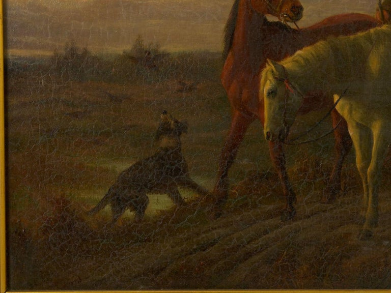 Canvas 19th Century Antique Equestrian Oil Landscape Painting of Figure with Horses For Sale