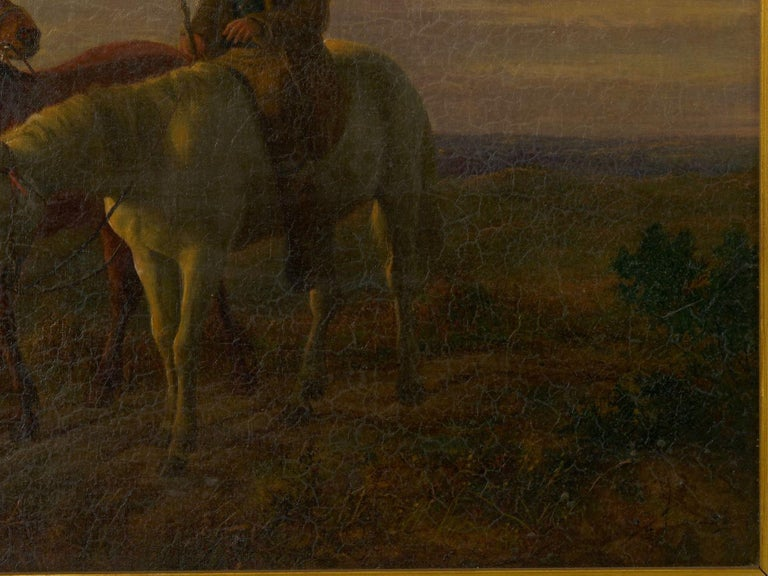 19th Century Antique Equestrian Oil Landscape Painting of Figure with Horses For Sale 1