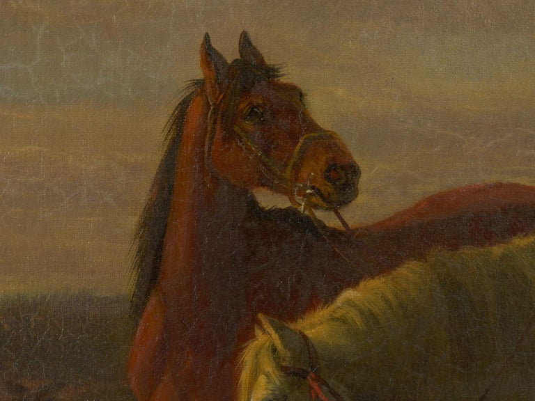 19th Century Antique Equestrian Oil Landscape Painting of Figure with Horses For Sale 3