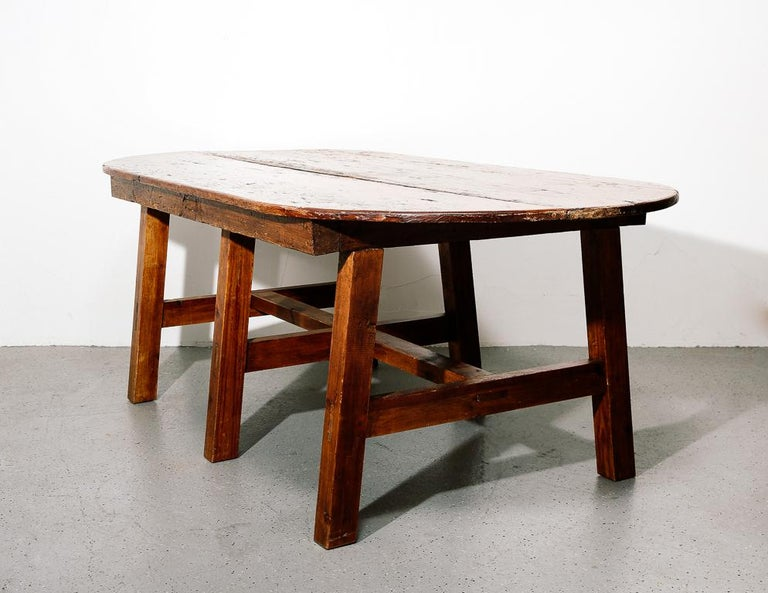 American Craftsman 19th Century Antique Farmhouse Dining Table For Sale