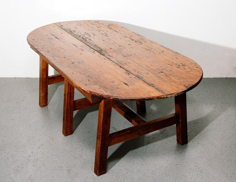 Pine 19th Century Antique Farmhouse Dining Table For Sale