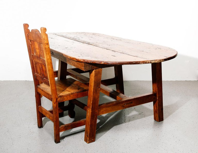 19th Century Antique Farmhouse Dining Table For Sale 1