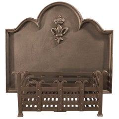 19th Century Antique Fire Back and Basket, Victorian