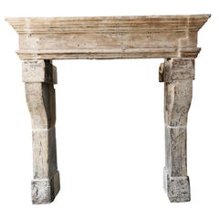 19th Century Antique Fireplace, Campagnarde Style, French Limestone Mantelpiece