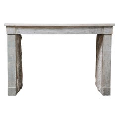 19th Century Antique Fireplace Campagnarde Style of French Limestone