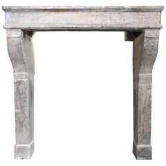 19th Century, Antique Fireplace of French Limestone, Campagnarde Style