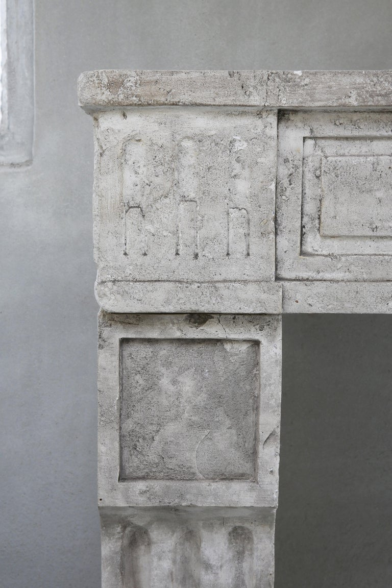 19th Century Antique fireplace of French Limestone in Style of Louis XVI For Sale 6