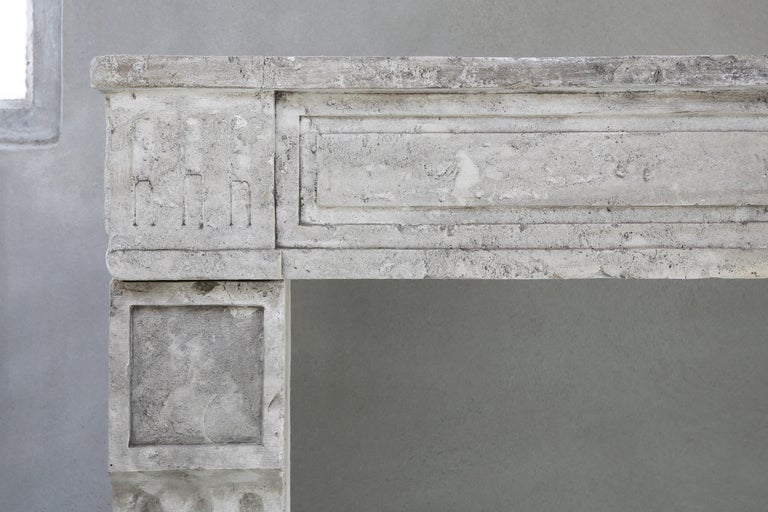 19th Century Antique fireplace of French Limestone in Style of Louis XVI For Sale 2