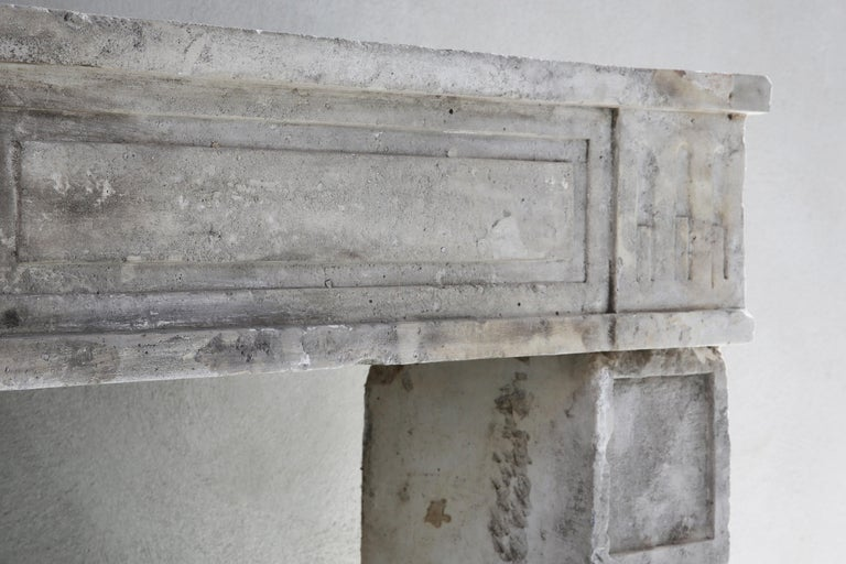 19th Century Antique fireplace of French Limestone in Style of Louis XVI For Sale 3