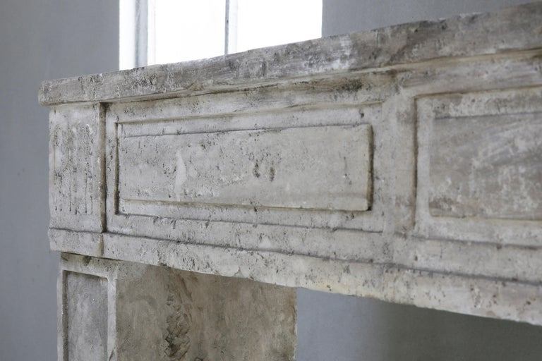 19th Century Antique fireplace of French Limestone in Style of Louis XVI For Sale 4