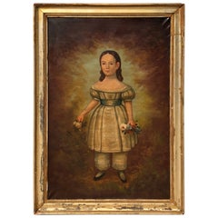 19th Century Antique Folk Art O/C Portrait Painting Young Girl Standing