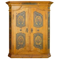 19th Century Antique folk painted cabinet, 1826