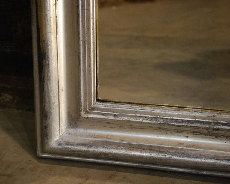 19th Century Antique French Arched Silver Leaf Louis Philippe Mirror For Sale 3