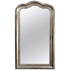 19th Century Antique French Arched Silver Leaf Louis Philippe Mirror