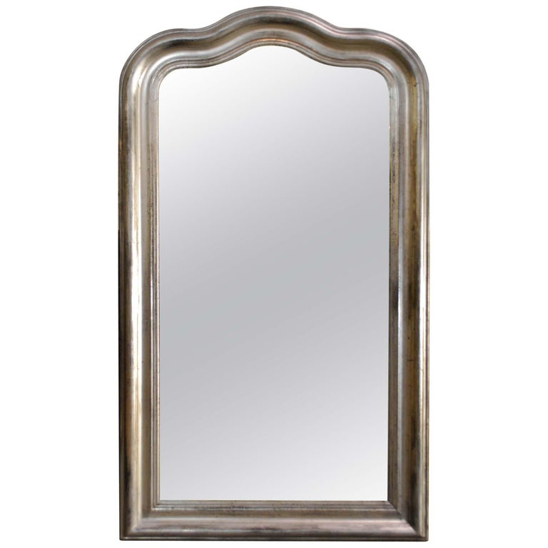 19th Century Antique French Arched Silver Leaf Louis Philippe Mirror For Sale