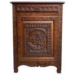19th century Antique French Carved Oak Confiturier Jam Cabinet Breton Brittany