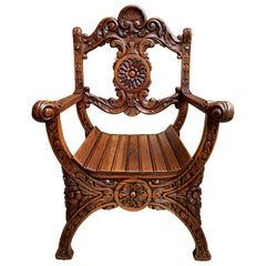 19th Century Antique French Carved Oak Curule Chair Renaissance Arm Throne