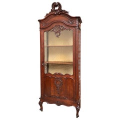 19th Century Antique French Carved Oak Glass Display Cabinet Vitrine Louis XV