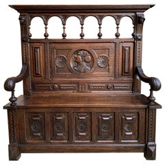 19th Century Antique French Carved Oak Hall Bench Brittany Breton Tall Pew Chest