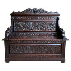 19th Century Antique French Carved Oak Hall Bench Trunk Chest Renaissance Lion