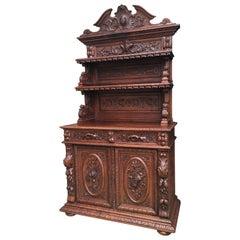19th Century Antique French Carved Oak Hunt Cabinet Sideboard Server Bookcase
