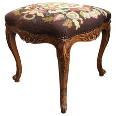 19th Century Antique French Carved Oak Louis XV Stool Bench Tapestry Serpentine