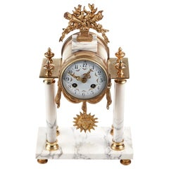 19th Century Antique French Gilt Brass and White Marble Mantle Clock