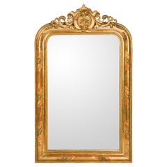 19th Century Antique French Gold Gilt Louis Philippe Mirror with Crest