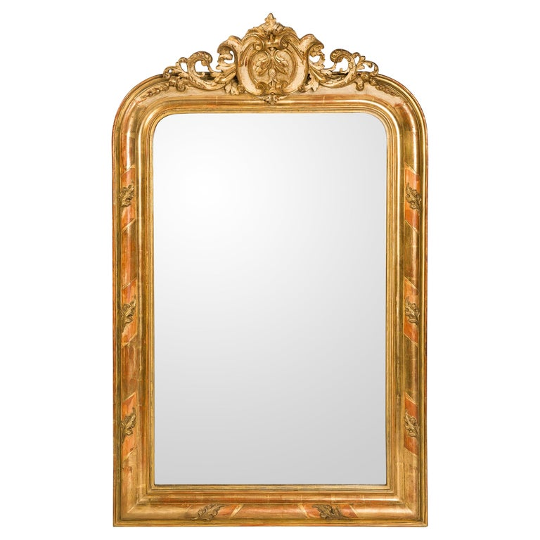 19th Century Antique French Gold Gilt Louis Philippe Mirror with Crest For Sale