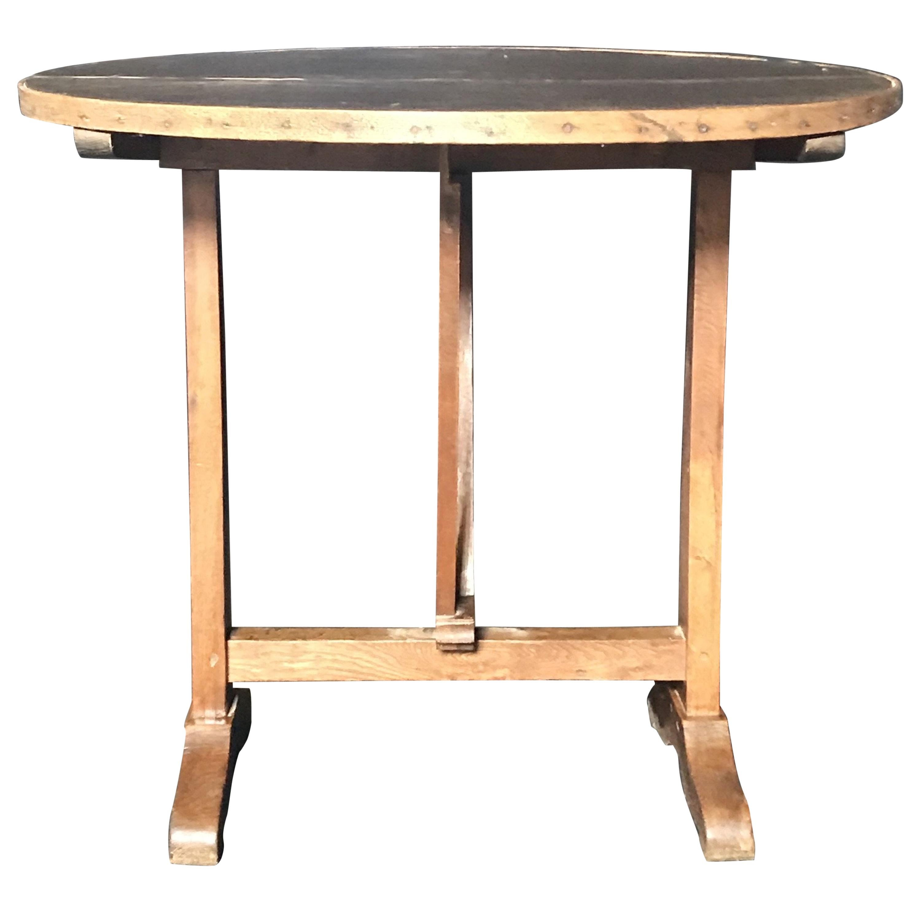 19th Century Antique French Leather Top Wine Tasting and Dining Table