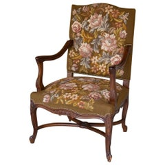 19th Century Antique French Louis XV Original Needlepoint Tapestry Armchair
