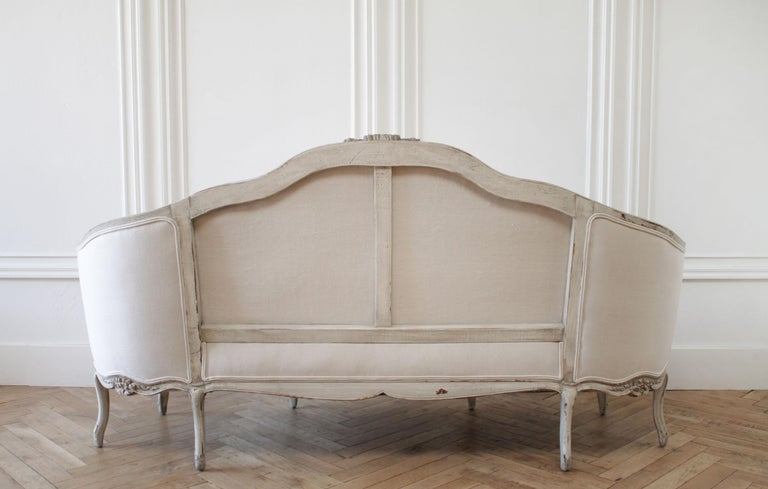 19th Century Antique French Louis XV Style Sofa In Good Condition In Brea, CA