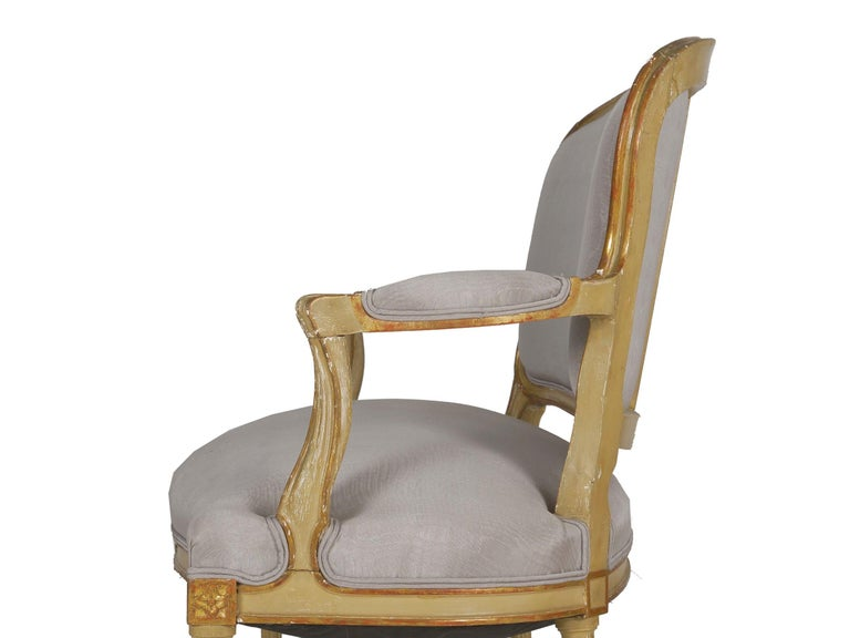 19th Century Antique French Louis XVI Style Carved Painted Settee Sofa For Sale 6