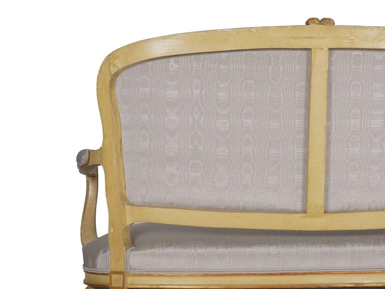 19th Century Antique French Louis XVI Style Carved Painted Settee Sofa For Sale 7