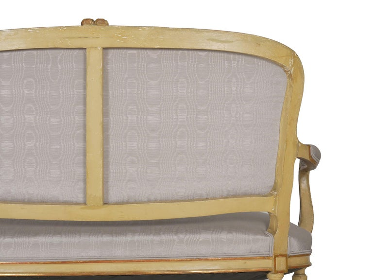 19th Century Antique French Louis XVI Style Carved Painted Settee Sofa For Sale 8