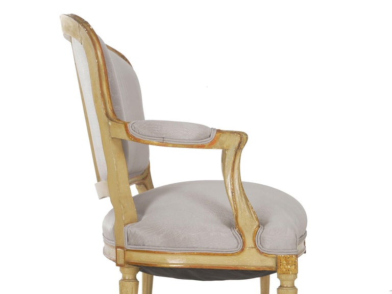 19th Century Antique French Louis XVI Style Carved Painted Settee Sofa For Sale 9