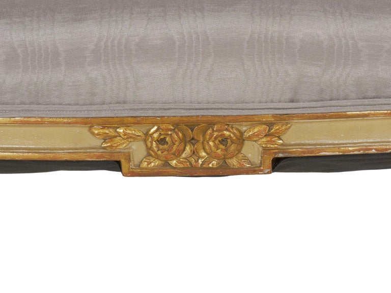 19th Century Antique French Louis XVI Style Carved Painted Settee Sofa For Sale 12