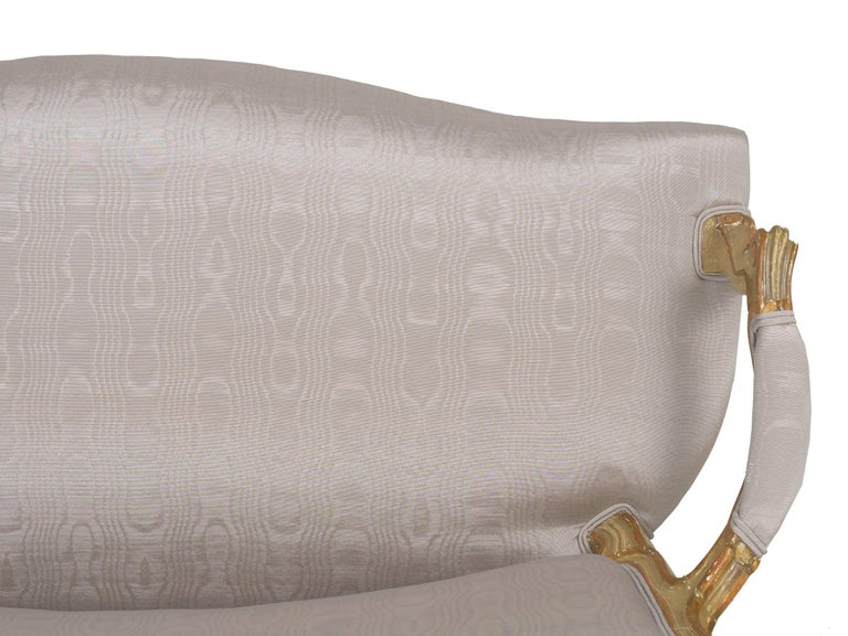 19th Century Antique French Louis XVI Style Carved Painted Settee Sofa For Sale 16