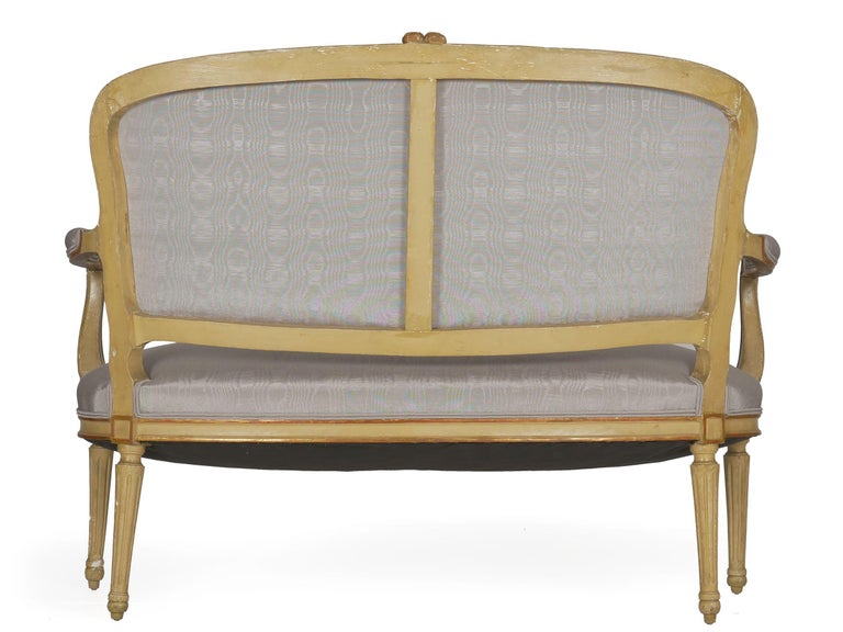 Upholstery 19th Century Antique French Louis XVI Style Carved Painted Settee Sofa For Sale