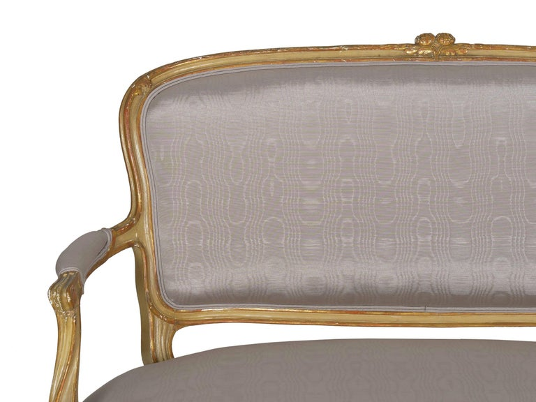 19th Century Antique French Louis XVI Style Carved Painted Settee Sofa For Sale 2