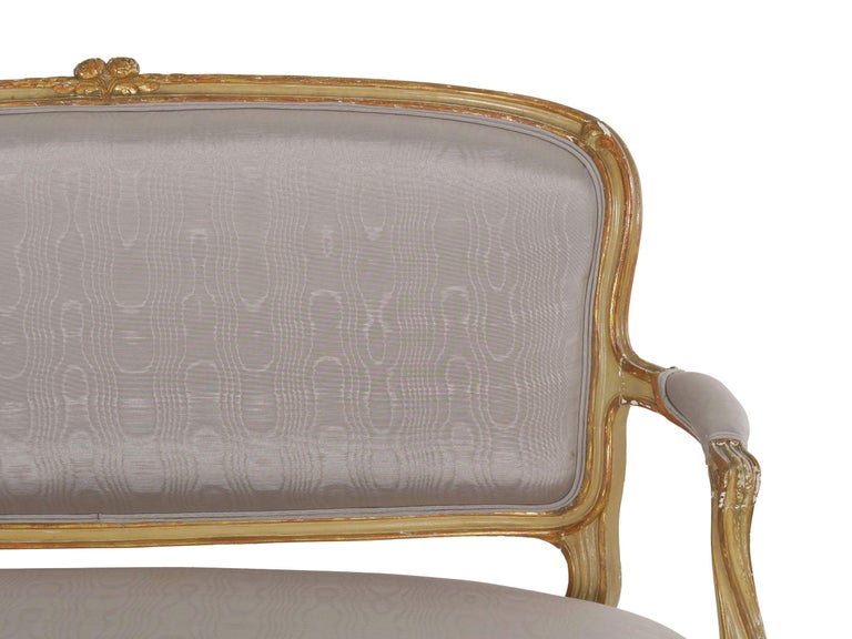 19th Century Antique French Louis XVI Style Carved Painted Settee Sofa For Sale 3