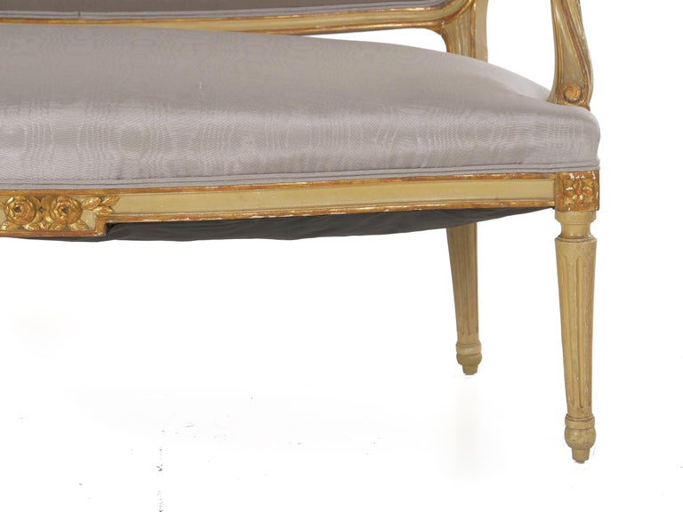 19th Century Antique French Louis XVI Style Carved Painted Settee Sofa For Sale 4